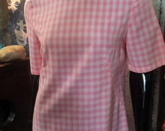 Handmade vintage circa 1960s pink and white checkered dress.