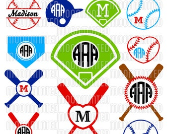 Baseball SVG Cut Files - Monogram Frames for Vinyl Cutters, Screen Printing, Silhouette, Die Cut Machines, & More