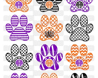 Paw Print SVG Cut Files - Monogram Frames for Vinyl Cutters, Screen Printing, Silhouette, Die Cut Machines, & More