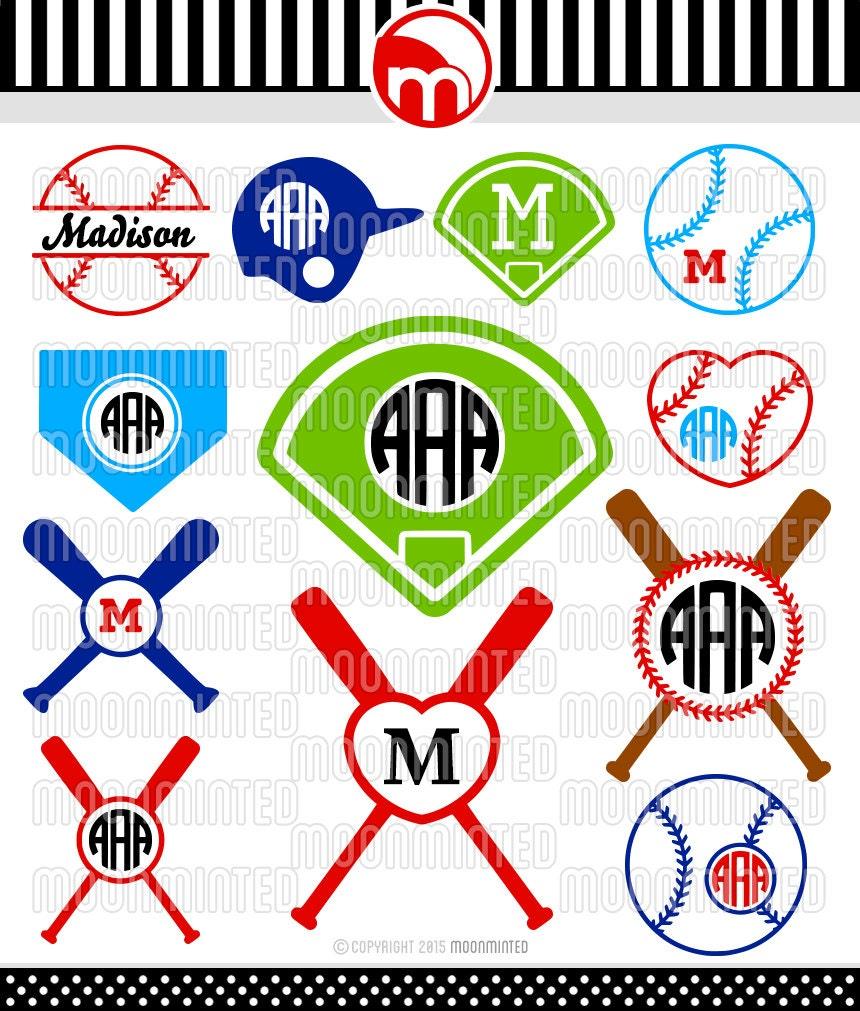 Baseball Svg Cut Files Monogram Frames For Vinyl Cutters