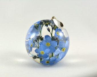 Blue Flower Pendant, Forget me-not Pendant, Nots Resin Pendant, Blue Silver Pendant, Blue Myosotis Sylvatica Necklace, no chain pendant