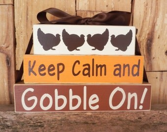 Keep Calm and Gobble On, Wood Blocks, Wood Sign, Decoration, Thanksgiving, Autumn, Fall,  Small Blocks, Gobble On, Turkeys