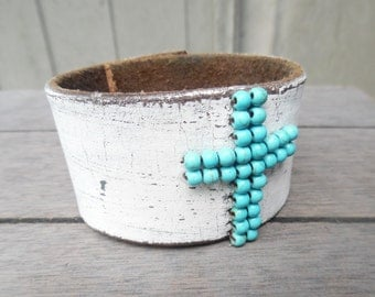 Turquoise Beaded Cross White Distressed Brown Up-Cycled Leather Cuff Bracelet