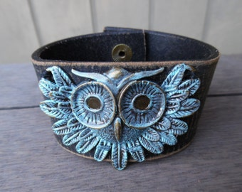 Women's Bohemian Brass Turquoise Verdigris Owl Distressed Up-Cycled Leather Cuff Bracelet Bangle