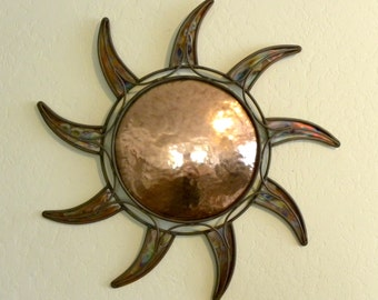 Copper Sun Wall Art Home Decor