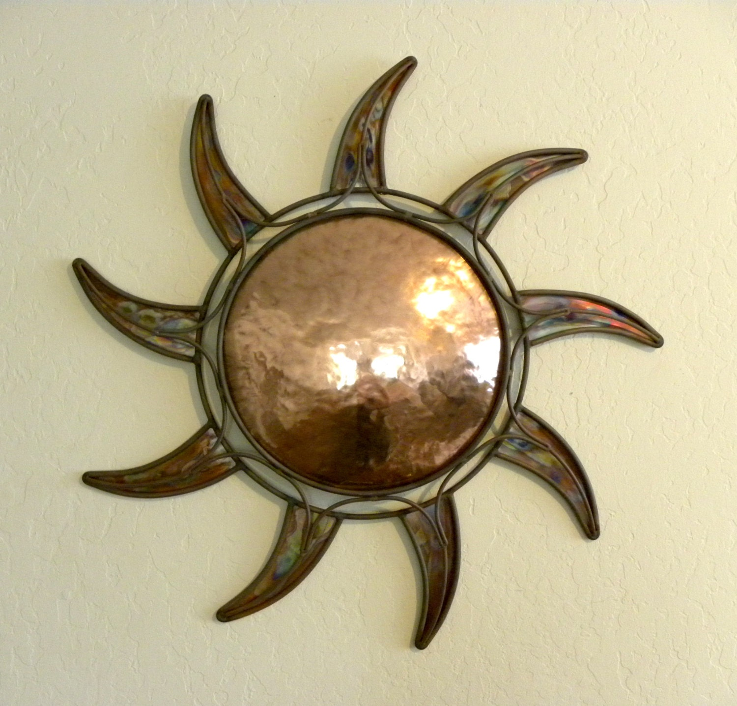 copper sun wall art home decor. Black Bedroom Furniture Sets. Home Design Ideas