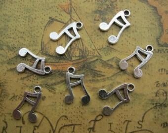 50pcs 17x11mm Antique Silver Smaller Music Symbol Pendant Charms Y2210