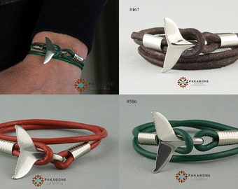 Wristband Surfer Nautical Marine Mens Womens Leather Bracelet with a Dolphin's Tail