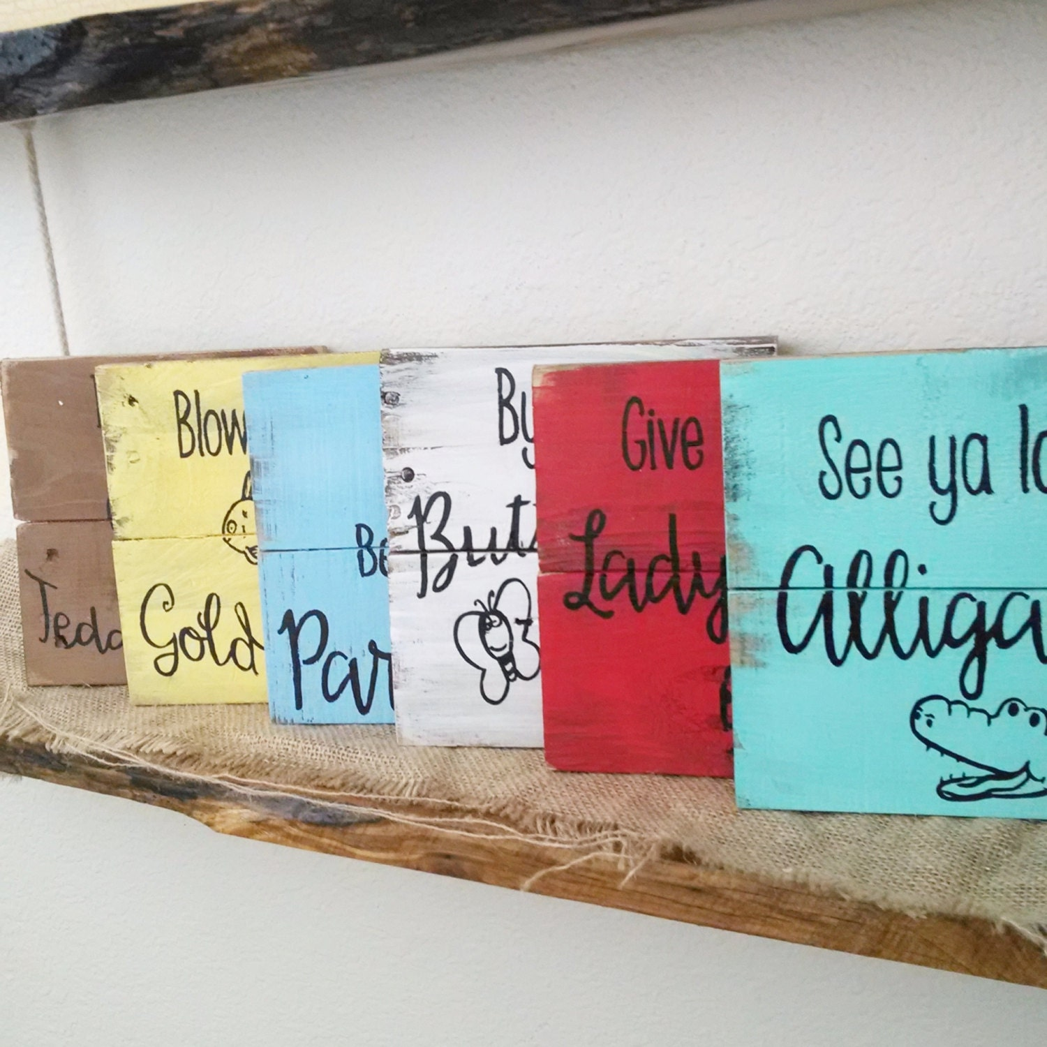 Rustic childrens sign kids rhyming signs nursery room decor for Kids room signs