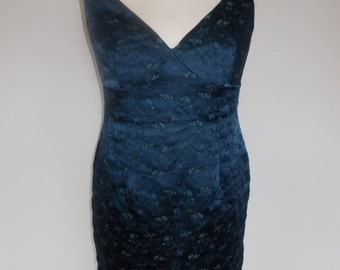 Vintage wiggle dress 90s Monsoon Navy floral embroidered pencil dress size medium