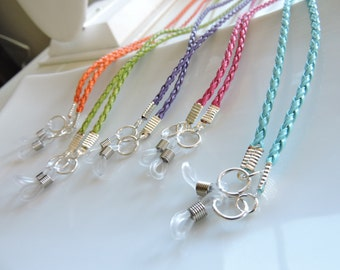 Braided Leather Eyeglass Chain - Chain Reading Glassess Holders -  Sunglasses Holder - Leather Eyeglass Holder You choose the color