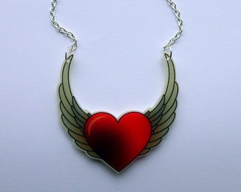 Tattoo winged heart laser cut necklace <3