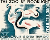 The Zoo By Flood Light dusk Til 11 Underground Vintage Travel  Advertising Enamel Metal TIN SIGN Wall Plaque