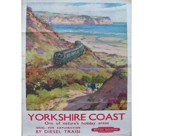 Yorkshire Coast Britsh Railways Vintage Travel  Advertising Enamel Metal TIN SIGN Wall Plaque