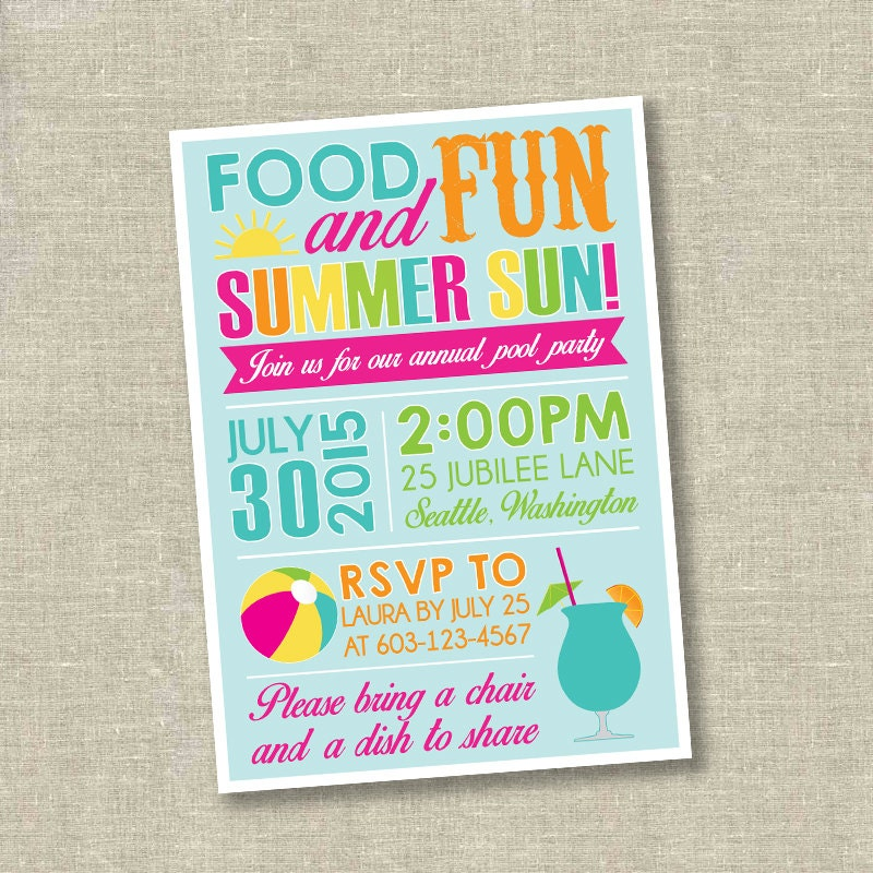 Bash Invitations Summer Bash Invitation