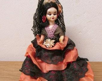 Vintage child folk/flamenco dancer doll, made in Spain