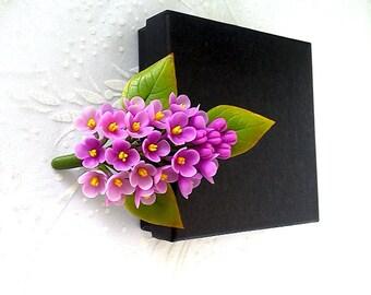 "Brooch "" Syringa""- Lilac flower brooch-Spring flower-Clay flower brooch-Floral jewelry-Porcelain flower brooch"