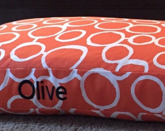 Orange Dog Bed ||  Personalized Small Medium Embroider with a Name or Two || Puppy Gift Custom Pillow Cover by Three Spoiled Dogs