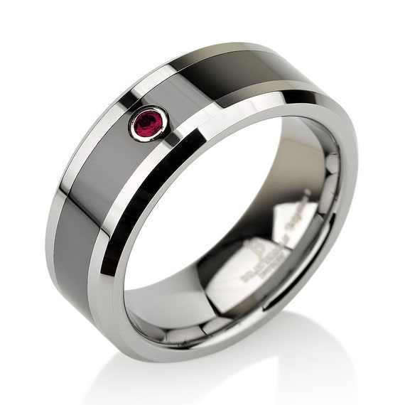 ruby tungsten wedding bandman by bravermanoren