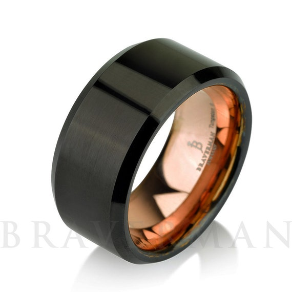 Black Tungsten Ring Rose Gold Wedding Band Ring By BravermanOren