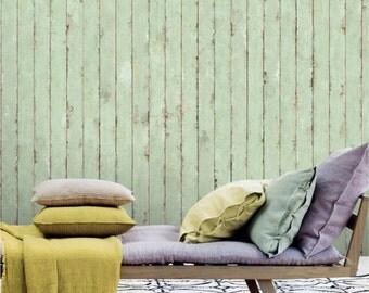 "Mint Green Vintage Stripe Wallpaper 18.5"" x 118"" Wood Grain Retro Country Wall Decal Art Wall Mural"