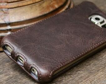 Samsung Galaxy S6  FLIP  Case Handmade Genuine Leather Cover