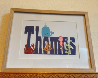 ANY NAME - Personalised framed animal name art - choose you name and theme - boys and girls available