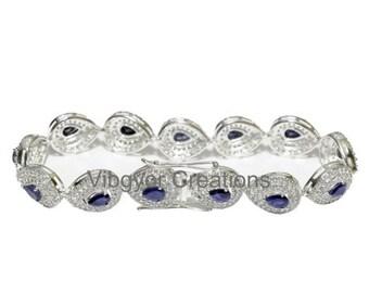 Bracelet Natural Blue Sapphire 925 Sterling Silver Antique Men Women Hot Sapphire Hand Bracelet Gorgeous lock