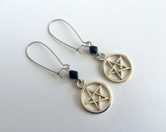 Gothic Pentacle Tunnel Earrings (Pair) On Silver Plated Hooks