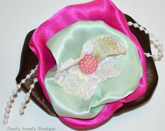 """Handmade Brown Mint Magenta Pink Satin Lace Puffy Flower w/Pearl String Hair Clip / Brooch  // 4"""""""