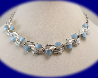 Vintage Statement  Chocker Blue and Silver Tone Chocker Silver Chocker Bridesmaid Gift