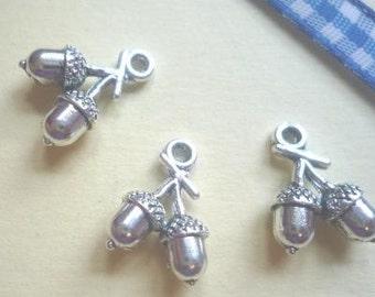 Costume pendant, acorns, antique silver, 15 mm