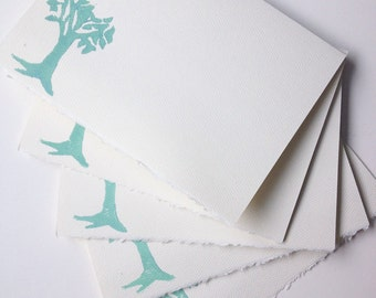 Stamped Blue Tree of Life Greeting Cards [blank inside, 5 cards, envelopes included]