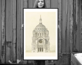 FRAMED Church of St Augustin Religious Art Print - Vintage Architectural Print - French Decor - Paris Gothic Cathedral Architecture Drawing