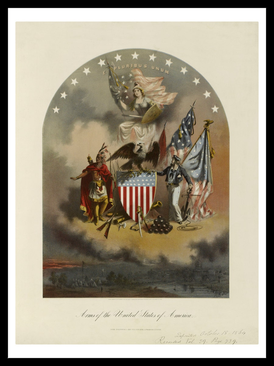 Arms Of The United States Of America Vintage Art Print