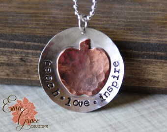 Teachers Necklace, Sterling Silver, Copper Apple, Teach, Love, Inspire Necklace, Teacher Gift