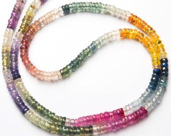 """Super Quality Multicolor Sapphire 3.5MM Micro Faceted Heishi Beads 17.5"""" Full Strand AAA Transparent Quality Sapphire Bead Finished Necklace"""