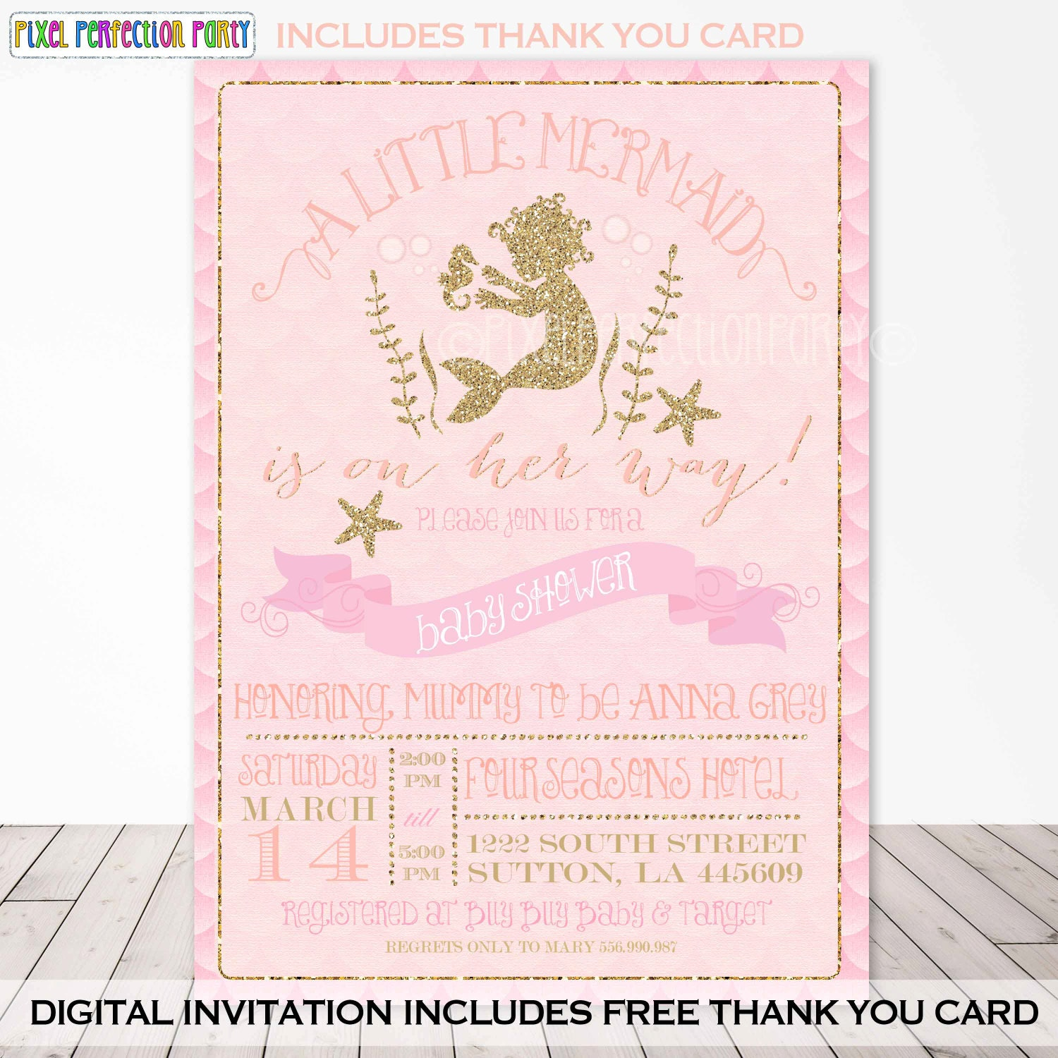 Mermaid Baby Shower Invitation Mermaid Peach Gold Sparkle