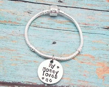 Child's size European style bracelet - Hand Stamped - Personalized - Silver Plated - Bead clasp - My mommy loves me - Little girls - Toddler