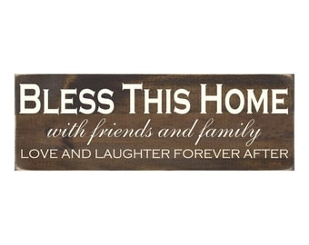 Rustic Wood Sign Wall Hanging Home Decor - Bless This Home with Friends and Family Love and Laughter (#1013)