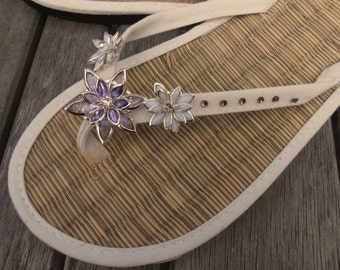 Ladies Wedding Ivory Straw Flip Flops
