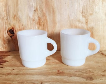 Vintage Fire King White Mugs Set of Two