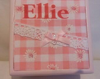 Personalised baby/ girls keepsake / jewellery / trinket box
