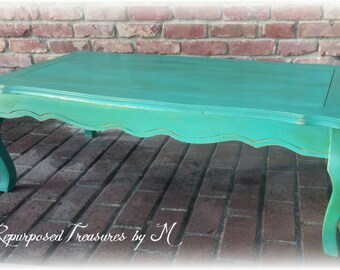 SOLD SOLD!! shabby chic coffee table! Queen anne coffee table, distressed coffee table, teal coffee table, shabby chic table,