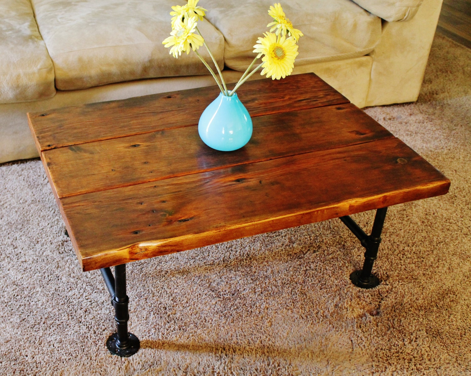 Coffee table reclaimed wood coffee table with pipe table Recycled wood coffee table
