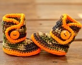 Camo Baby Clothes, Caution Orange and Camouflage Newborn Boots, Gender Neutral Hunting Outfit, Forest Green Country Booties, Infant Shoes