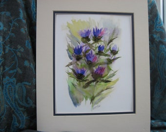 The Gathering - Scottish Thistles Giclee Print of Watercolor