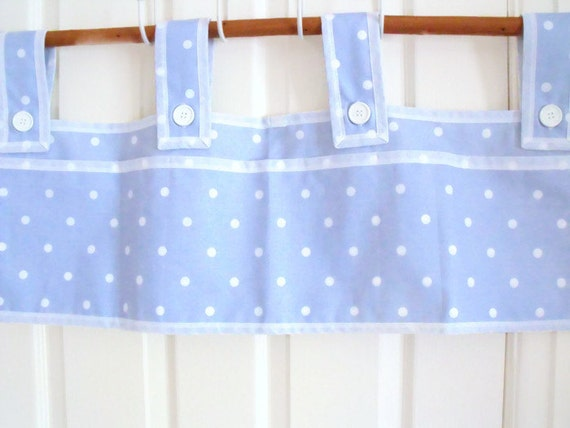 "bunk bed caddy, camping rail caddy, cot or crib caddy, bed tidy, bunk bed pockets, blue polka dot fabric 30"" x 10"""