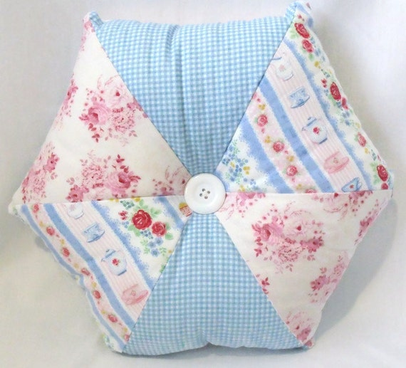"Tilda patchwork cushion, floral scatter cushion, pointed accent pillow with co-ordinating button, blue & pink, 17"" across"