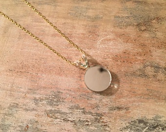 Mirror Necklace #1 - small // Dainty Silver Mirror Necklace with Gold chain  // Minimalist Necklace 19""
